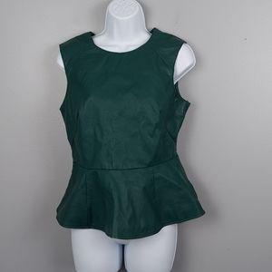 Green Peplum faux leather top, medium